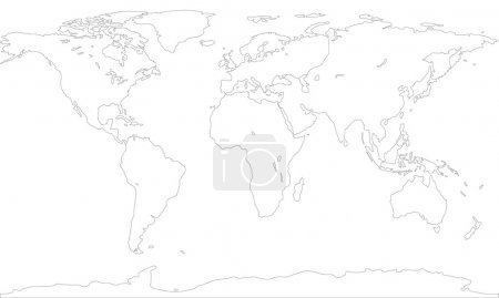 Illustration pour Carte de contour du monde . - image libre de droit