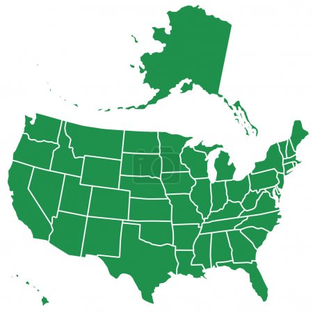 Illustration for Silhouette map of the USA. Source of map: - Royalty Free Image