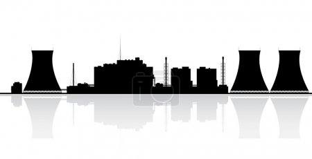 Illustration for Silhouette of a nuclear power plant. Vector illustration. - Royalty Free Image