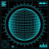 Radar screen. Digital globe with scale.