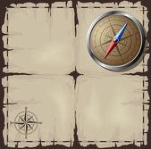 Stará mapa s ocelovými kompas