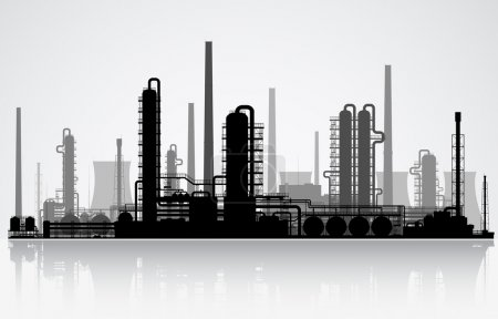 Illustration for Oil refinery or chemical plant silhouette. Vector illustration. - Royalty Free Image