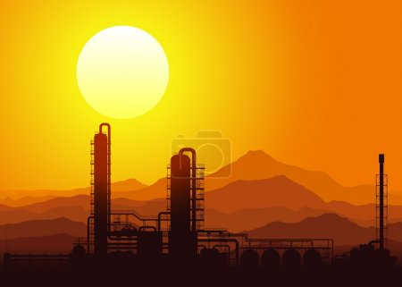 Illustration for Oil refinery or chemical plant at sunset in the mountains. Vector illustration. - Royalty Free Image