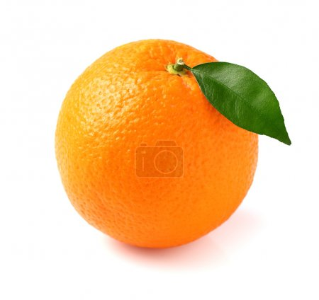Fresh orange fruit with leaf...