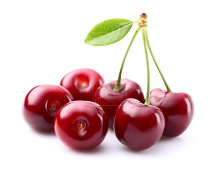 Juicy cherry with leaf