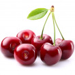 Juicy cherry with leaf...