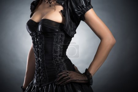 Woman in Victorian style corset