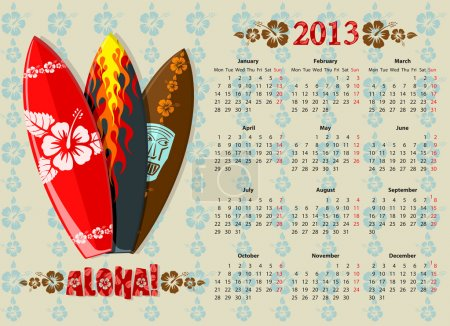 Vector Aloha calendar 2013 with surf boards