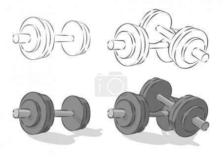 Vector simple dumbbells, isolated on white backgro...