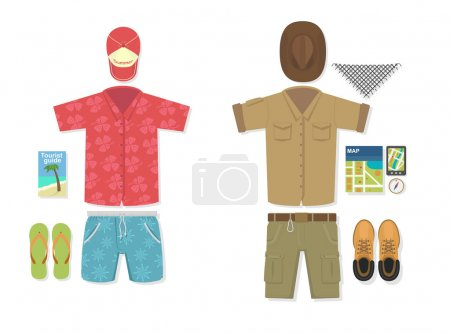 Vector illustration of tourist vs traveler