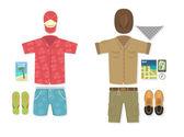 Vector illustration of tourist vs traveler