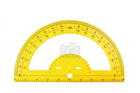 yellow school protractor isolated on a white background