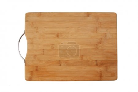 Kitchen bamboo cutting board isolated on a white background