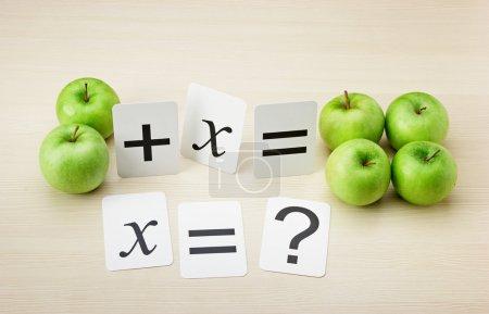 Photo pour Carte de l'école et apple avec des problèmes de maths sur la table - image libre de droit