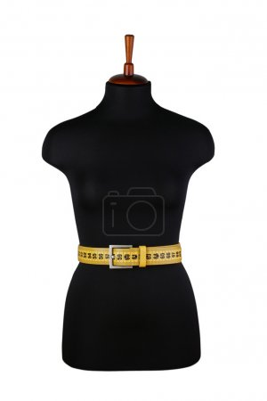 belt for waist measurements and mannequin isolated on white back