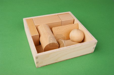 wooden geometric shapes in a box on a green background