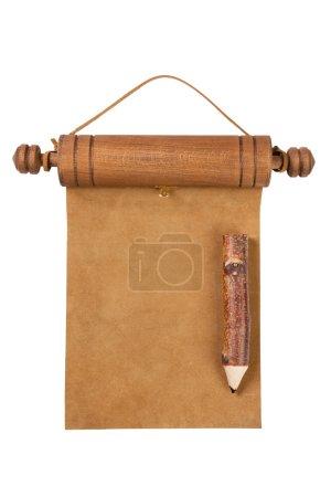 Blank parchment manuscript and pencil