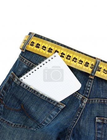 jeans with meter belt slimming and notebook in pocket isolated o