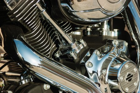 close-up motorcycle engine