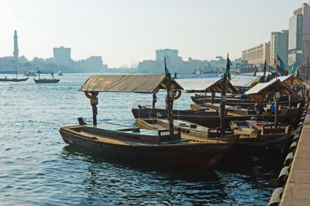 Traditional Abra ferries at the creek in Dubai, United Arab Emir