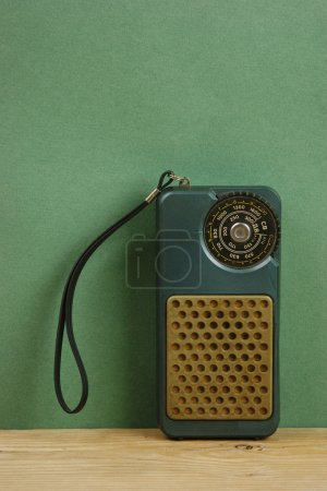 Photo for Old radio on a wooden shelf - Royalty Free Image