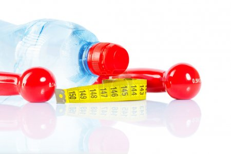 bottle dumbbells and tape isolated