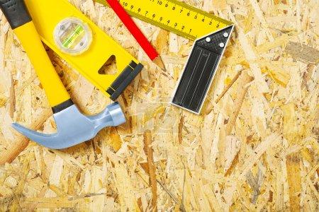 tools on plywood