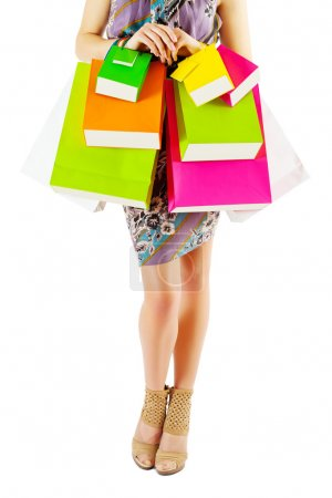 Photo for Female with colored paper bags isolated - Royalty Free Image