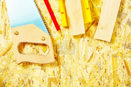 Photo for Set of tools on plywood board - Royalty Free Image
