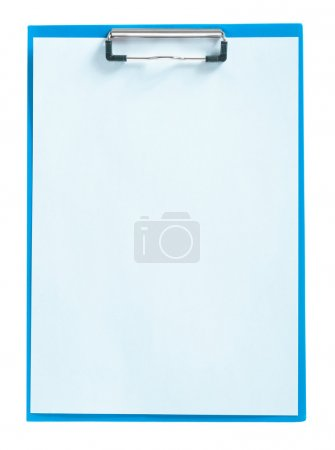 blue clipboard with sheet of paper isolated