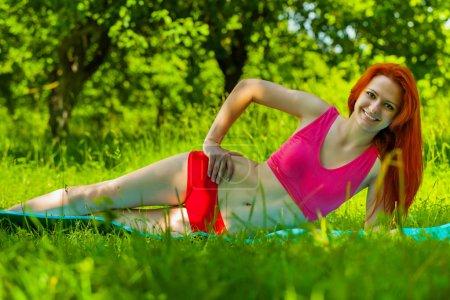 a girl do exercise