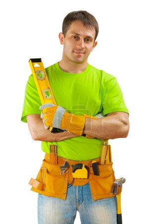 a worker on white background