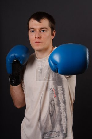 Portrait of boxer getting ready for fight