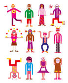 Group of 12 funny - vector illustration Isolated on white background
