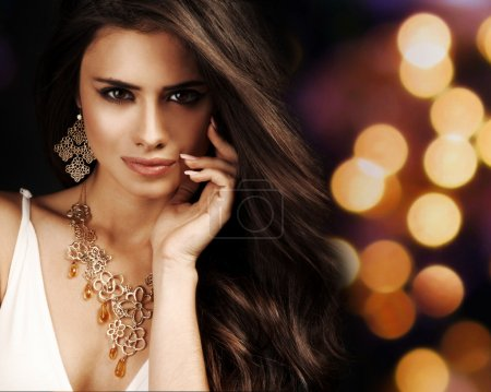 Photo for Beautiful woman with evening make-up. Jewelry and Beauty. Fashion photo - Royalty Free Image