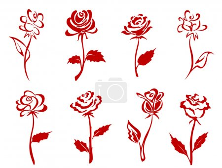 Illustration for Beautiful isolated red roses set. Vector illustration - Royalty Free Image