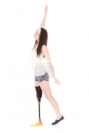 Photo for The image of a girl with artificial leg - Royalty Free Image
