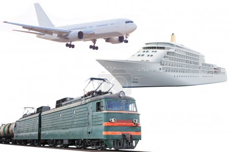 Airplane, train and cruise ship