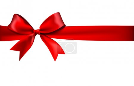Illustration for Shiny red satin ribbon on white background. 10 eps - Royalty Free Image