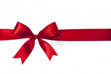 Photo for Shiny red satin ribbon on white background - Royalty Free Image