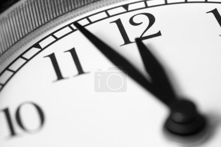 Clock, black and white photo