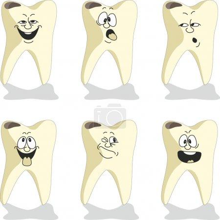 Emotion tooth cartoon set
