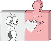 A jigsaw pieces couple cartoon