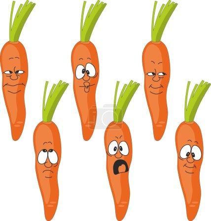 Illustration pour Vector.Emotion jeu de carotte de dessin animé - image libre de droit