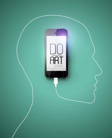 Illustration pour Noir IPhone 5 gadget formant profil visage humain avec son câble - image libre de droit