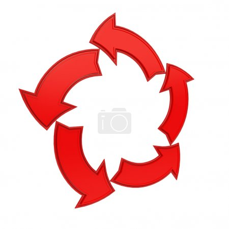Photo for Red frame made from five arrows on white background - Royalty Free Image