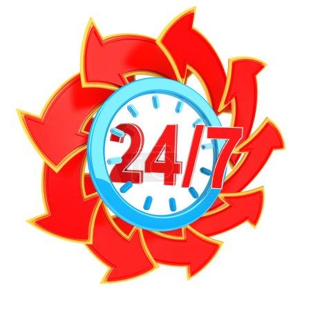 Photo pour 24 heures sept jours par semaine signe de service avec des flèches rouges - image libre de droit