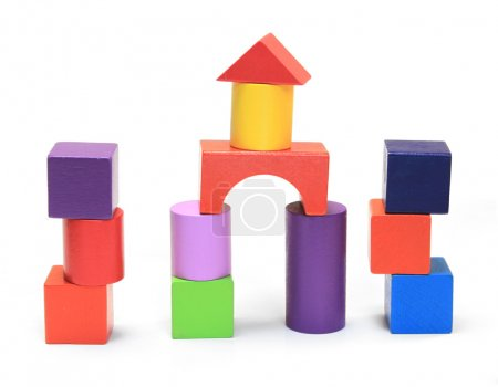 Photo for Colorful wooden building blocks isolated on white background - Royalty Free Image