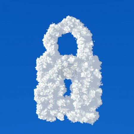 Photo for Clouds in shape of padlock icon on a blue background - Royalty Free Image