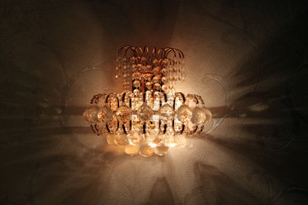 Close-up of a beautiful crystal sconce